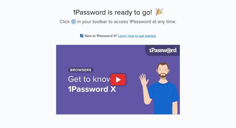 1Password ready on Chrome