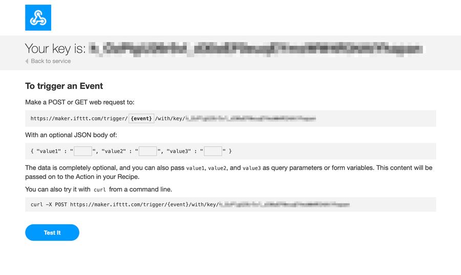 IFTTT get web request key