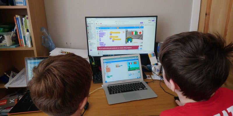 Two Kids Learning to Code with Digital Making at Home