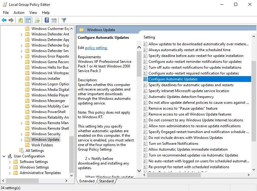 Stop automatic Windows 10 updates