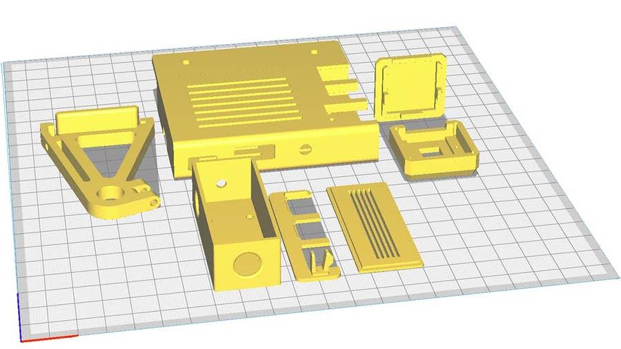 OctoPrint parts: Raspberry Pi case, camera, and buck converter enclosure