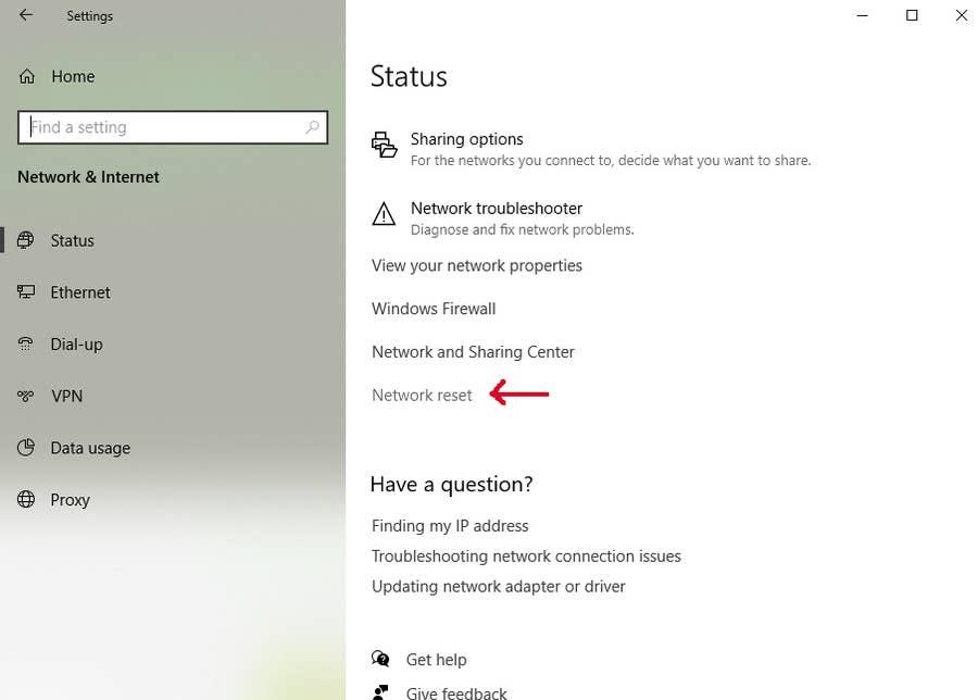 Windows 10 Network Reset