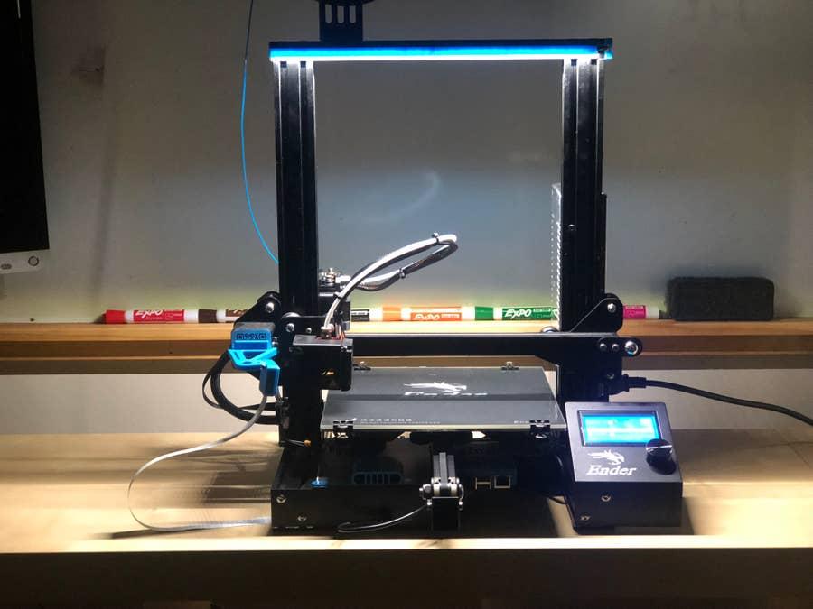 A 3D printer with LED strip lighting