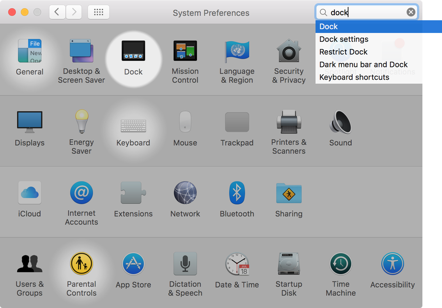 Open Dock in System Preferences