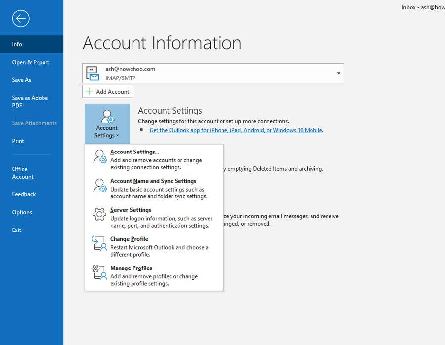 Manage Outlook Profiles