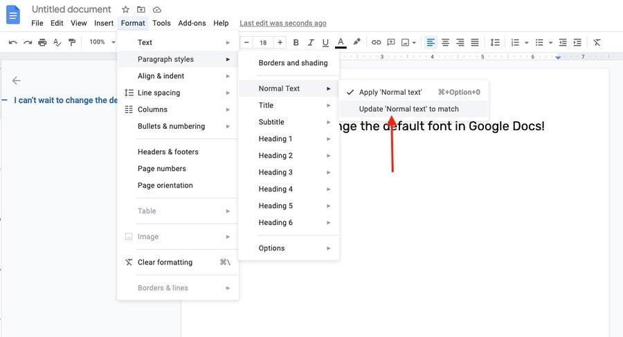 update normal text google docs
