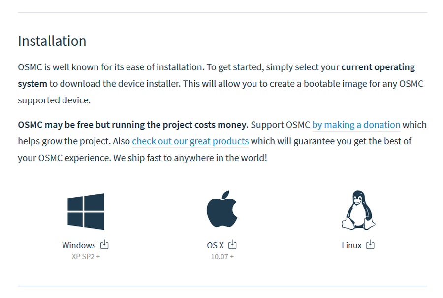 Download the OSMC (Open Source Media Center) installer