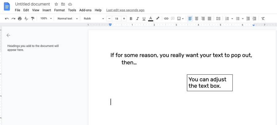 Adjust the text box Google Docs