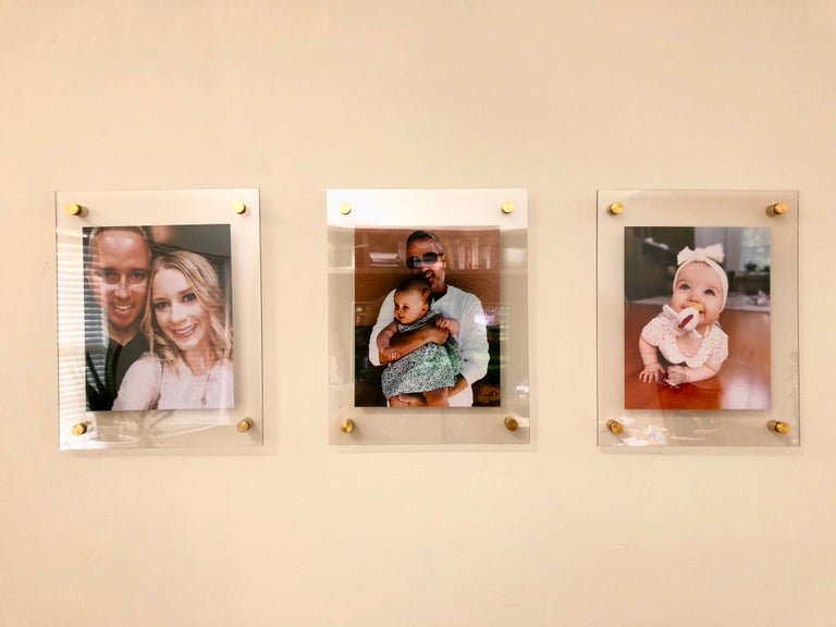 Set of three acrylic floating frames