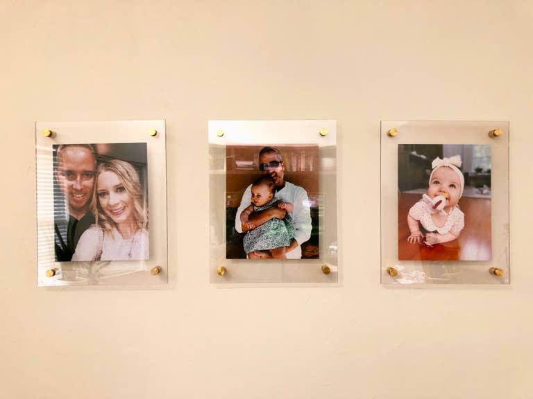Set of three acrylic floating frames