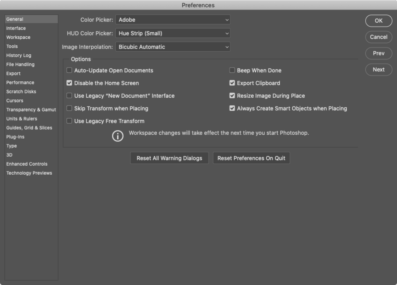 Adobe Photoshop General Preferences