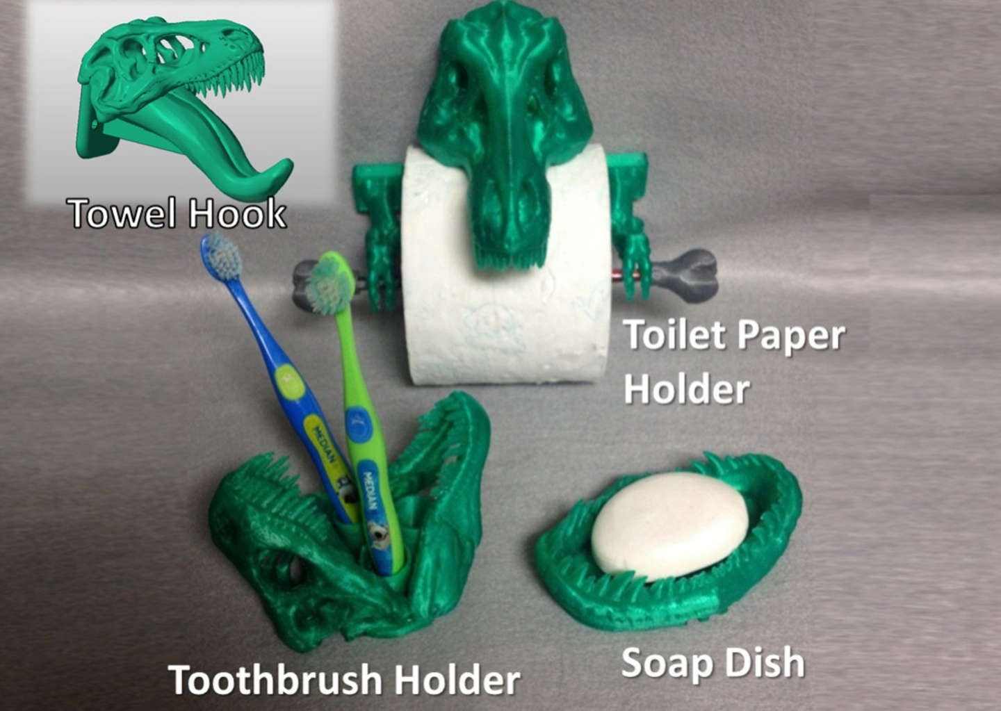 3D printed T-Rex bathroom set