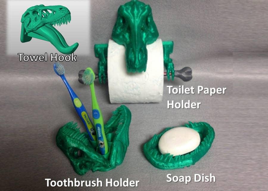 3D printed T-Rex bathroom set