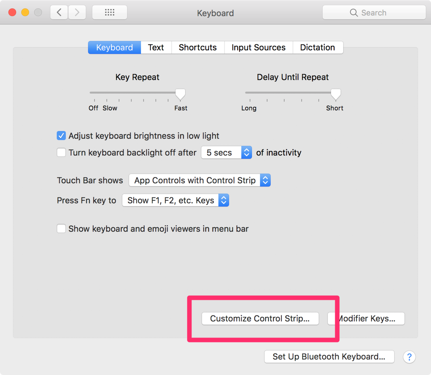 Click on Customize Touch Bar