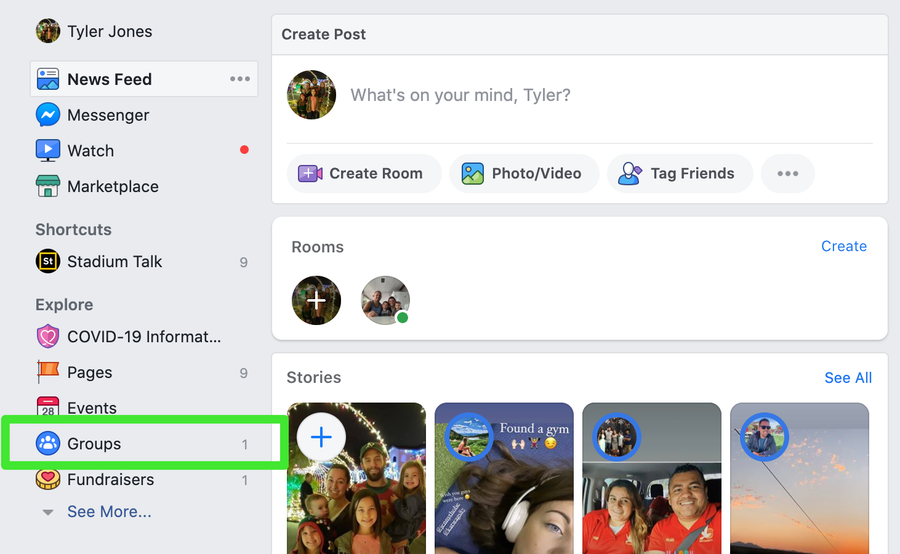 Access your Facebook Groups