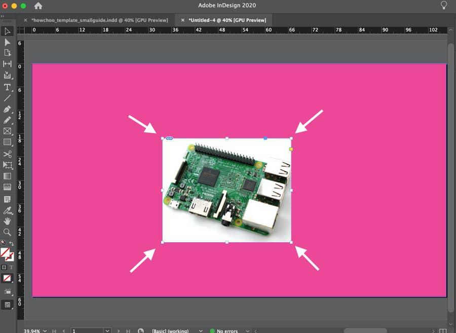 Raspberry Pi in InDesign with arrow to corner of image
