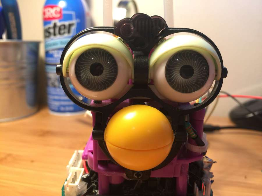 Close-up of disassembled Furby
