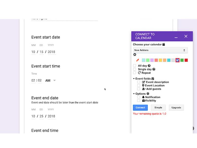 google forms addon form to calendar
