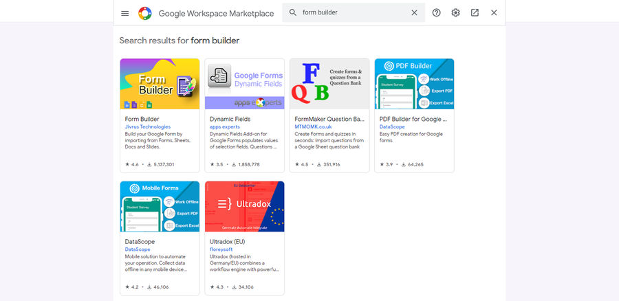google workspace marketplace google forms addons