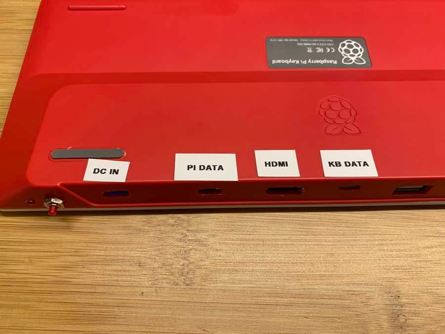 All-in-one Raspberry Pi keyboard printed port labels