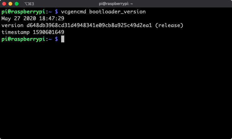 Verify the raspberry pi bootloader version