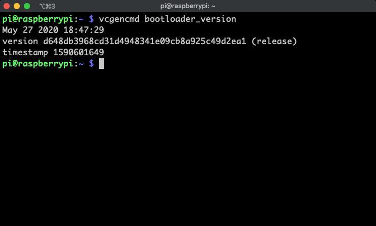 Verify the raspberry pi bootloader version