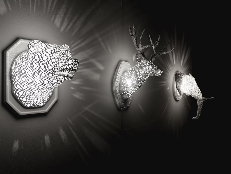 3D printed lamps animal heads