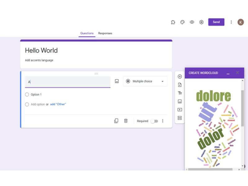 google forms addon world cloud generator