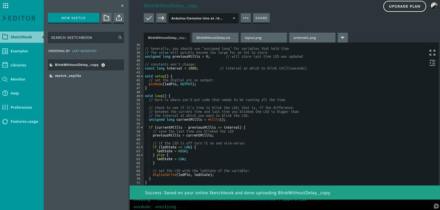 Arduino online sketchbook IDE