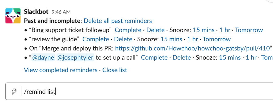 Slack reminder list