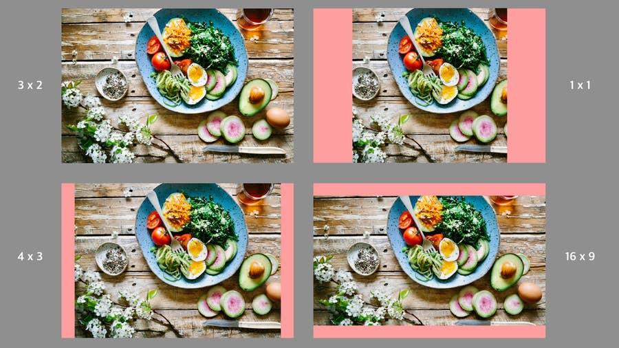 Four duplicate images of a salad bowl arrangement showing different aspect ratios.