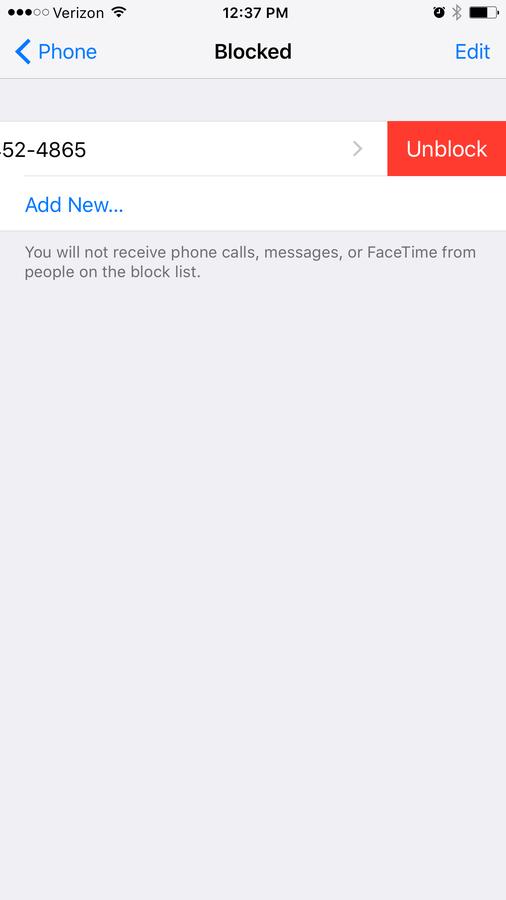 Remove a blocked caller