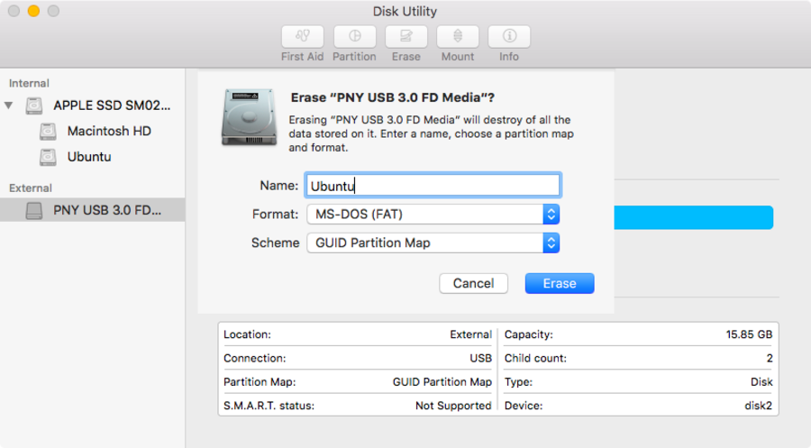 Disk Utility USB drive reformat screen