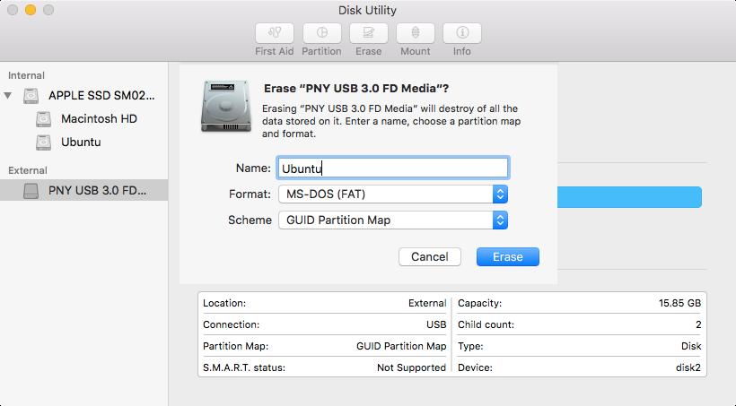 Disk Utility USB drive reformat screen