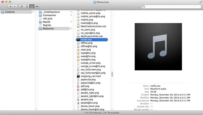 OS X: Find and replace notify.wav
