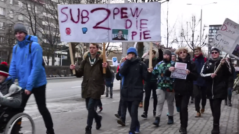 PewDiePie supporters demonstrate