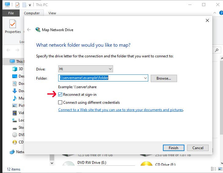 Network Drive Reconnect at sign-in
