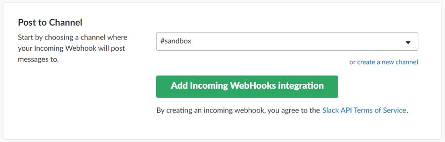 Obtain Slack webhook URL