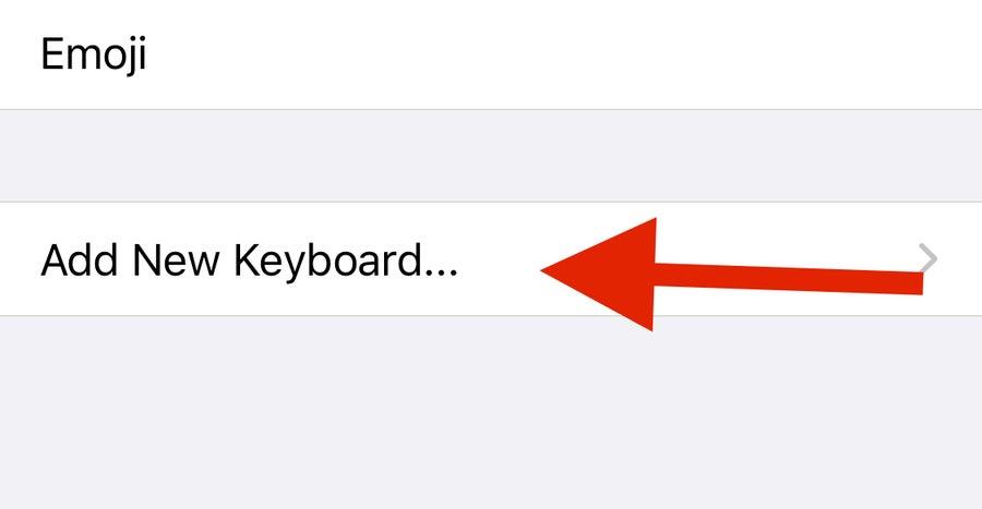 Arrow to iPhone Add New Keyboard