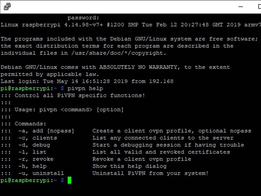pivpn help terminal