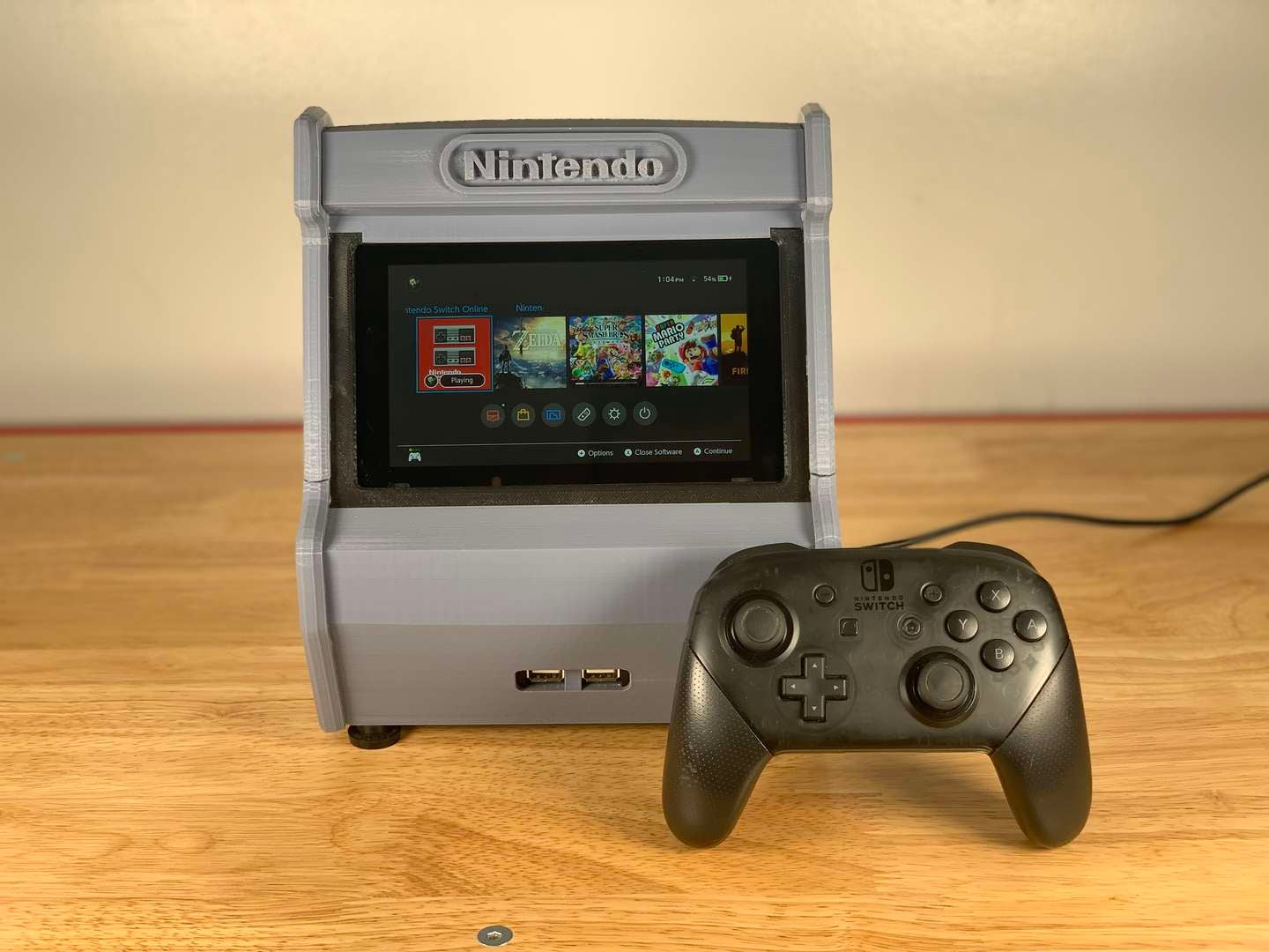 Nintendo Switch arcade cabinet on table
