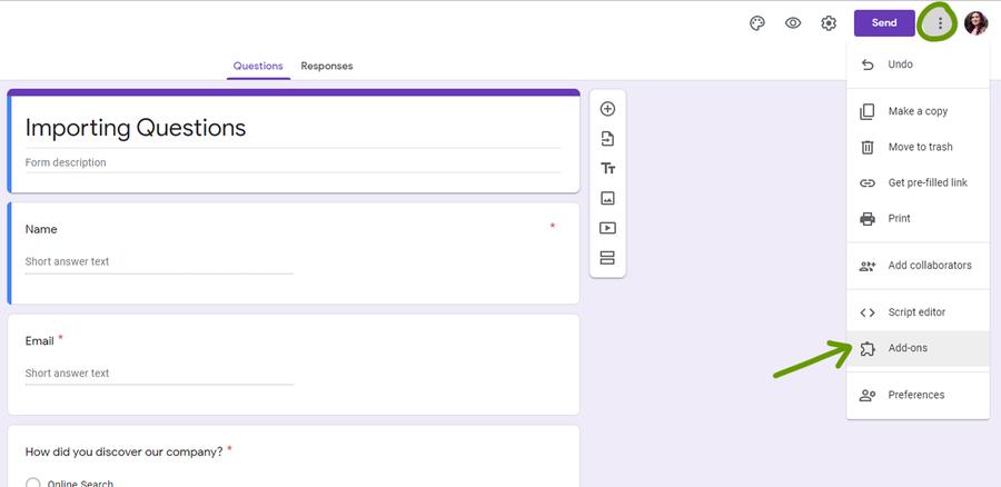 google forms addon menu