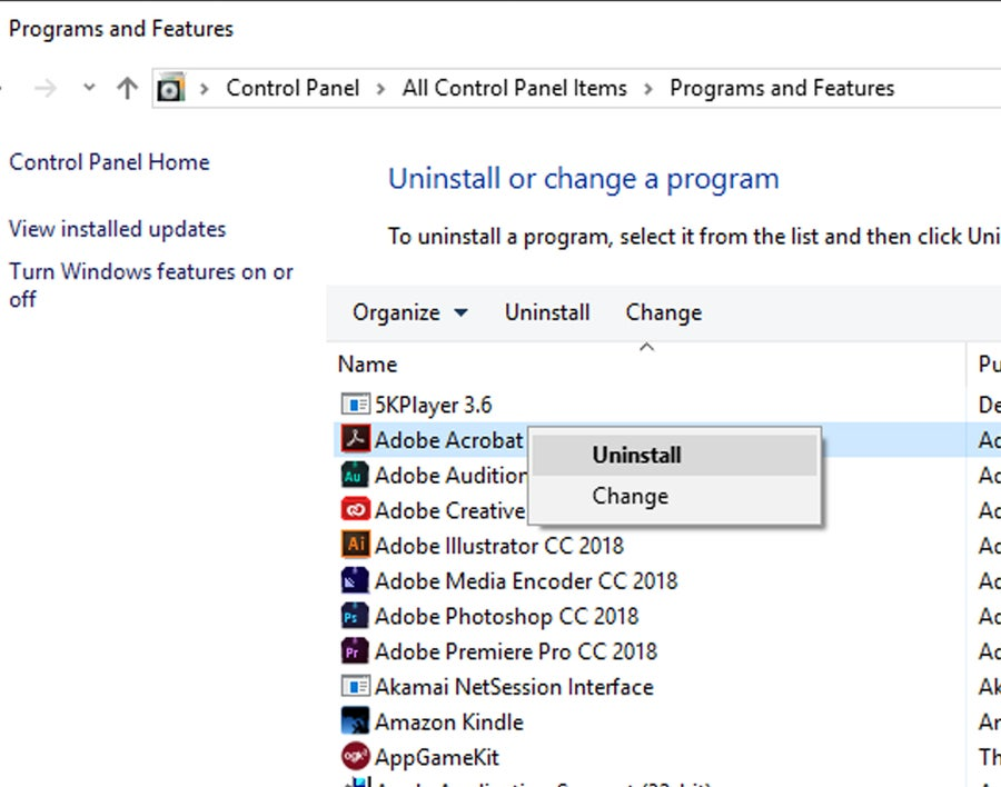 Programs & Features Windows 10