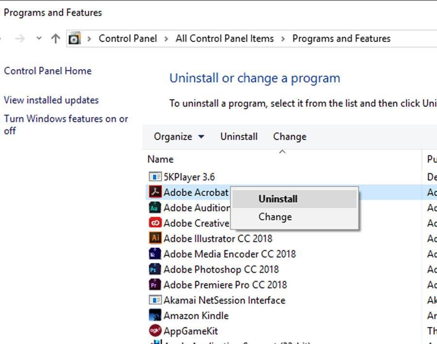 Programs & Features Windows 10
