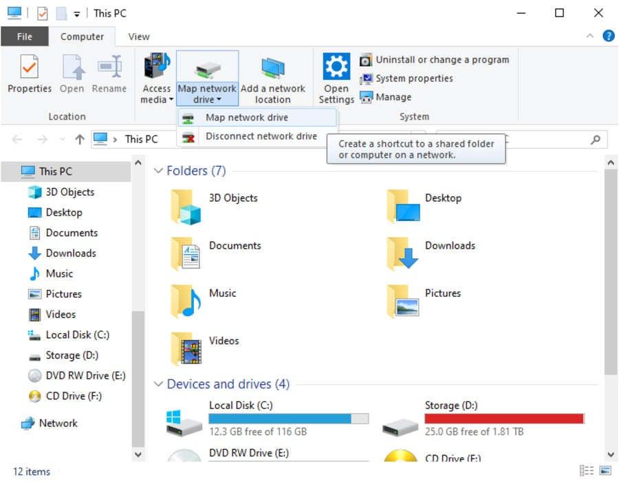 Windows 10 Map Network Drive