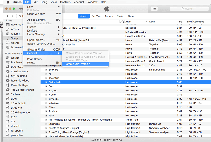 Convert to mp3 with iTunes