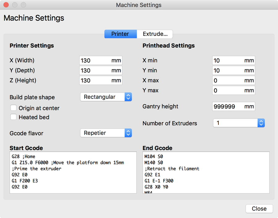 Geeetech E180 Machine Settings