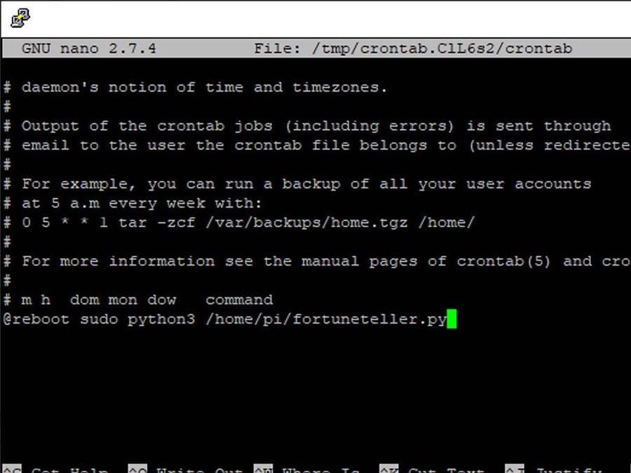 edit crontab file