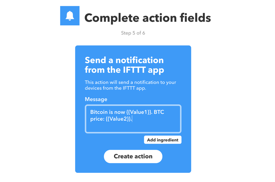 Choose notification message for IFTTT action.
