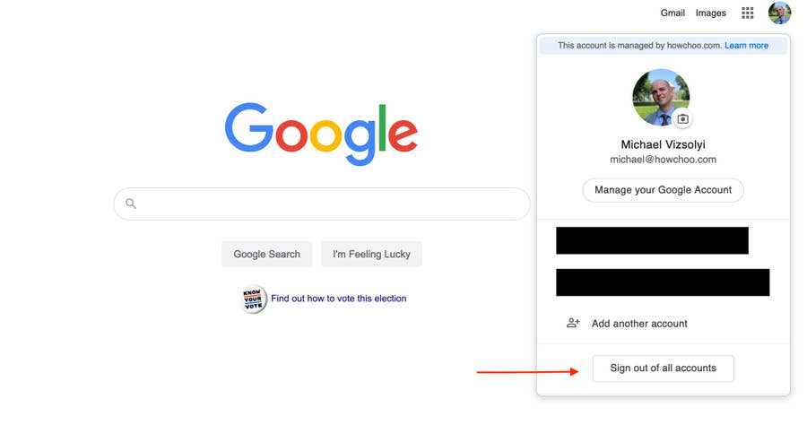 Arrow to Sign out of all accounts Google